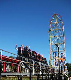 action : global village's fastest roller coasters TOP THRILL DRAGSTER , CEDAR POINT , SANDUSKY , OHIO , USA