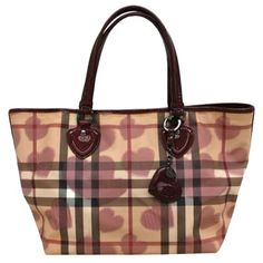 fc9ff4f726c5 Burberry Auth Tote Check heart Pattern Shoulder Bag