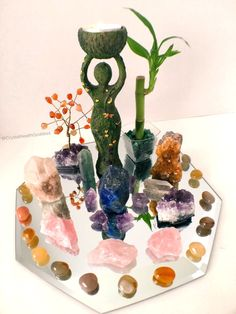 "I call this one ""The I AM The Goddess Reflection Crystal Altar"" because I think we all women are Goddesses and it is important for us to always remember that or be reminded; Crystal Altar, Crystal Decor, Crystal Grid, Crystals And Gemstones, Stones And Crystals, Black Crystals, Healing Crystals, Healing Stones, Feng Shui"