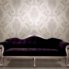 "Buckingham Chambers Floral 33' x 20.5"" Damask Embossed Wallpaper"