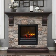 Artwork of Stone Electric Fireplace for Modern Rustic Home Designs