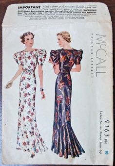 McCall 9163 Dinner Dress by Maggy Rouff (from 1937)