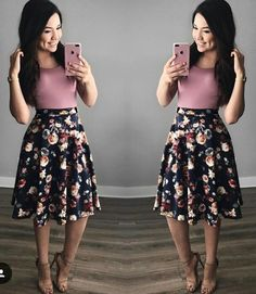 Style: Dressing Up & Down Floral Skirts – Best Fashion Advice of All Time Girly Outfits, Modest Outfits, Skirt Outfits, Classy Outfits, Beautiful Outfits, Cute Outfits, Summer Outfits Modest Classy, Dress Skirt, Cute Fashion