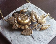 Large rose antique brass statement pendant by DelicateIndustry1