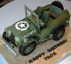 We asked YOU to submit your photos of car cakes for a chance to be featured during Next Great Baker. Army Cake, Military Cake, Military Party, Army Party, Military Jeep, Army Birthday Cakes, Image Birthday Cake, Army Birthday Parties, Army's Birthday
