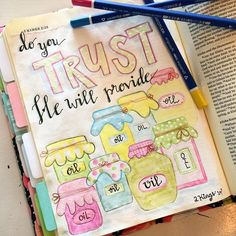 Sometimes in order to see God provide for our needs we might have to step out in faith like the widow did in the story of Elisha and the widow's oil.  When you do get ready because it might not look like you imagine it will look. It might be jars and jars and jars full of blessings.  #Godprovides #faith #trust #BibleJournaling #IllustratedFaith#shepaintstruth #BibleJournalingCommunity #journalBible #handlettering #calligraphy http://ift.tt/1KAavV3