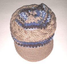Small Claw Cables Scarf Blue & Brown Hat Sky and by LaBufandaLLC on sale
