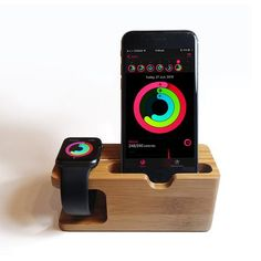 This is a lovely and unique real wood dock station for your Apple watch and iPhone. The Apple watch's charging cable can be organised perfectly in the dock, charging simultaneously with your iPhone. Iphone Apple Watch, Apple Watch Charging Stand, Iphone Stand, Apple Watch Models, Docking Station, Iphone Models, Watch Case, Apple Watch Bands, Phone Holder