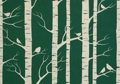 Winter tree and bird pattern
