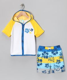 Take a look at this Yellow Hibiscus Swim Trunks & Cover-Up - Infant, Toddler & Boys by Baby Buns on #zulily today!