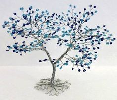 Ready to Ship Twisted MultiBlue Wire Tree by RELcreations on Etsy, $40.00
