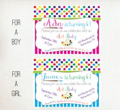 Birthday Invitation | art party, polka dots and stripes | painting party | colorful, rainbow, multicolor | printable, pdf, digital design, diy | #bluealoedesigns