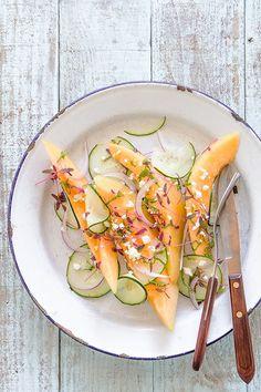 Cantaloupe + Cucumber Feta Salad