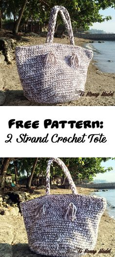 Easy Crochet Tote using 2 strands of yarn.