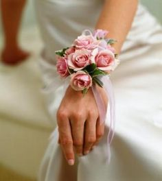 Pink rose wrist corsage wedding corsages by BrideinBloomWeddings