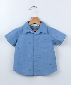 Blue Sailboat Chambray Button-Up - Infant, Toddler & Boys