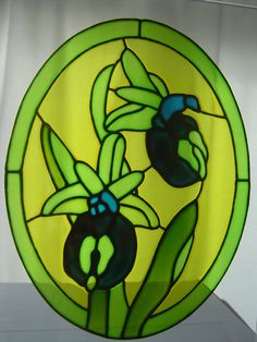 Horseshoe Orchid - stained glass effect window painting / cling - 28 x 20 cm. £15.00, via Etsy.