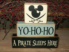 Yo-ho-ho A pirate sleeps here.New Pirate Mickey Mouse Primitive Wood Sign Blocks Kids Nursery Room, via Etsy. For Ashton's big boy room Pirate Nursery, Pirate Bedroom, Disney Nursery, Nautical Nursery, Baby Disney, Pirate Baby, Pirate Theme, Baby Boy Rooms, Baby Boy Nurseries