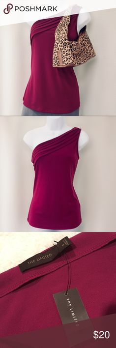 🆕 The Limited One-Shoulder Dressy Top Brand new with tags! Hot one-shoulder tunic-length tank  Fabric is soft and stretchy with a subtle shine Very flattering cut! Rich cranberry color  Chest is 16 inches flat Length is approx. 24 inches shoulder to hem Brand new! The Limited Tops Tank Tops