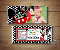 ANY AGE Printable Mickey Mouse Birthday Candy Bar Wrapper, Red Polka Dots Mickey Mouse Candy Wrapper, Mickey Mouse Birthday Party Printables by ThePrintableOccasion on Etsy https://www.etsy.com/listing/173852632/any-age-printable-mickey-mouse-birthday