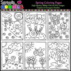 Spring Coloring Pages – Scrappin Doodles Spring Coloring Pages, Coloring Pages For Kids, Bullet Journal Art, Cute Clipart, Cover Pages, Spring Colors, High Quality Images, Original Artwork, Doodles
