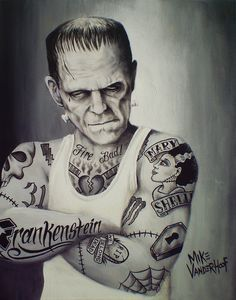 Ink Frank, Tattoo Frankenstein, Art Prints, Desktop Backgrounds, Artists Mike, Frankie, Monsters, Creative Art, Mike Vanderhoof