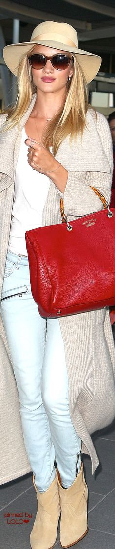 Rosie Huntington Whiteley with Bamboo GUCCI bag | LOLO❤︎