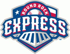 Round Rock Express Primary Logo (2011) - Express in white with a red shadow on a blue train with Round Rock in white on a red banner over th...