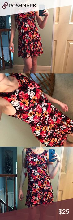 NEW red orange pink black floral sundress Brand new, never worn and still with tags. Adorable floral sundress by Hot Kiss. Soft velvety and slightly stretchy material. Perfect for the summer time! Women's size Medium Hot Kiss Dresses Mini