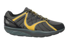 Men's Jengo 5 Sport Neutral Lace Up Vol.Gry / Blk / Mustard  : Take your sports footwear game to the next level with soles that barefoot running on soft soil, and up your training with the MBT advantage.