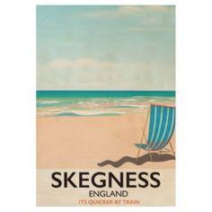 skegness vintage train travel poster. wood poster - holidays diy custom design cyo holiday family