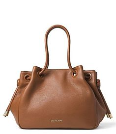"""MICHAEL Michael Kors Dalia Brown Leather Large Shoulder Bag Tote. MATERIAL IS MADE OF A BEAUTIFUL LUGGAGE BROWN PEBBLED LEATHER WITH LUGGAGE LEATHER TRIM AND STRAPS. MEASUREMENTS: 18.5 TOP 11"""" BOTTOM LENGTH x 11""""H x 7""""D. TOP POLISHED GOLD MAGNETIC SNAP CLOSURE. LUGGAGE BROWN ROLLED LEATHER HANDLES WITH A 5"""" DROP. INSIDE ZIPPER POCKET AND 3 SLIP POCKETS."""