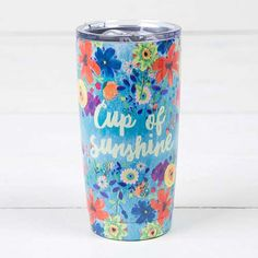 """Cup of Sunshine"" Double Walled Tumbler - Stay hydrated with this generous 17 oz. double-wall, stainless steel tumbler! It features original artwork, the cute sentiment, ""Cup of Sunshine"" and a lid with a rubber seal to keep drinks cold (or hot!) for up to 12 hours! They make perfect gifts for friends and family!"