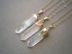 Crystal Point Necklace Long Pendant Necklace by LisaDJewelry, $34.00