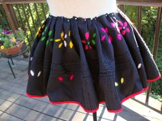 Vintage Pieces of Black Cotton Fabric Colorful Embroidery Folk Costume Folklore Dancewear Embroidered Fabric 108