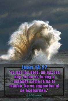 """- Juan 14:27 - """"La paz les dejo; mi paz les doy. Yo no se la doy a ustedes como la da el mundo. No se angustien ni se acobarden."""""""