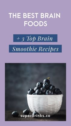 The Best Brain Foods 3 Top Brain Smoothie Recipes. Wondering how to optimally feed your brain for a sharper mind today and lasting brain health tomorrow? Heres our guide on the top 7 brain foods 3 best brain smoothies. The Best Brain Foods 3 Top Brain Sm Smoothie Detox, Healthy Smoothies, Healthy Fats, Healthy Drinks, Smoothie Recipes, Healthy Brain, Foods For Brain Health, Raspberry Smoothie, Healthy Recipes