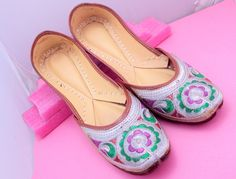 Multi Color Embroidery Shoes/Women Shoes/Women Shoes/Punjabi Shoes/ Ethnic Shoes/Indian Shoes/Bohemian Shoes by pinkcityhandmade on Etsy