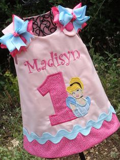 Our applique birthday Princess Cinderella Aline Dress is the perfect birthday clothing for your little princess. It would also be perfect for a theme park vacation.