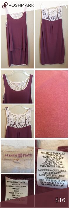 """Altar'd State high-low hem mauve tank Super soft Altar'd State mauve high-low hem tank with cream lace details. Approximate measurements: from top of strap to front hem: 23""""▫️from top of strap to back hem: 36""""▫️armpit to armpit 16"""" Altar'd State Tops Tank Tops"""