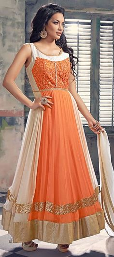 18be9f28ea 447597 Orange color family Anarkali Suits in Faux Georgette fabric with  Machine… Designer Salwar Suits