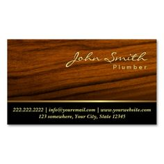 Elegant Wood Grain Plumber Business Card. I love this design! It is available for customization or ready to buy as is. All you need is to add your business info to this template then place the order. It will ship within 24 hours. Just click the image to make your own!