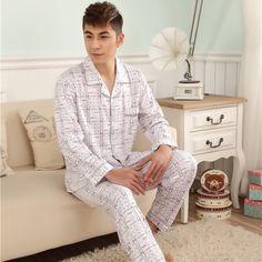 Spring new men s comfortable fit long-sleeved knit cotton cardigan double  white plaid pajama suit 26c91c8c3