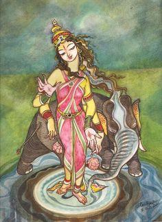 Gajalakshmi. Watercolour. Inspired by Botticelli.