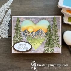 The Happy Birthday with Mountain Air card was for my husbands birthday last week. I just love how it turned out! It's masculine, and since the mountains are his happy Birthday Cards, Happy Birthday, Box Of Sunshine, My Husband Birthday, Stampin Pretty, Wink Of Stella, Heart Frame, Coordinating Colors, Paper Pumpkin