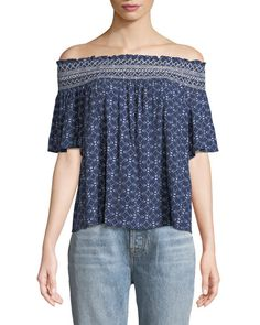 $29.99. LAUNDRY BY SHELLI SEGAL Top Off-The-Shoulder Short-Sleeve Blouse #laundrybyshellisegal #top #blouse #clothing Short Sleeve Blouse, Short Sleeves, Off Shoulder Blouse, Off The Shoulder, Laundry By Shelli Segal, Blue Blouse, Printed Blouse, Clothes For Women, Clothing