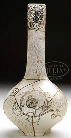 Mt Washington Glass; Royal Flemish, Vase, Lion, Double Headed Eagle in Shield, Gold Flowers, Frosted, 15 inch. REVERSE