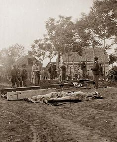 Civil War Funeral - Fredericksburg, Virginia. Burial of Federal dead. It was made in 1864 by Timothy H. O'Sullivan, 1861-1865.