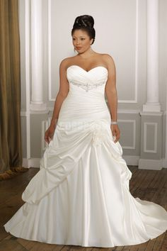 Sweetheart-neck Plus Size Strapless A-line Satin Wedding Dress