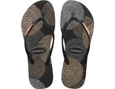 <p>The Slim Logo Metallic Bloom features a delicate blossom of flowers in subtle metallic hues on our signature textured footbed. This style is adorned with a logo hardware embellishment for a chic and glamorous charm. </p><ul><li>Thong style</li><li>Cushioned footbed with textured rice pattern and rubber flip flop sole</li><li>Made in Brazil</li></ul>